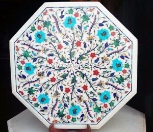 """15"""" White Marble Octagon Table Top Turquoise Floral Inlay KItchen Decor H4342"""