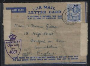 SOMALILAND COVER (PP0312B)   KGVI GOAT  3A ON A/M LETTER CARD CENSOR TO ENGLAND