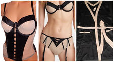 VICTORIA'S SECRET NUDE / BLACK MESH & FAUX LEATHER BRA + CORSET+ ROBE SET