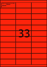 A4 Labels 100 sheets- FLUORO RED -33 labels per page