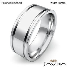 8mm Men Wedding Solid Band Flat Fit Plain Ring 18k White Gold 12.5gm Size 9-9.75