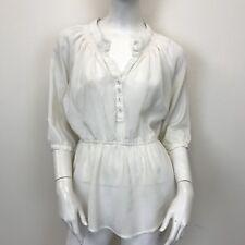 Velvet Heart Ladies Beige Chiffon Sheer Elastic Waist Blouse Shirt UK Size 8-10