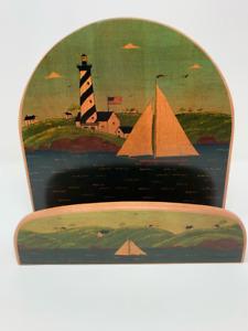 """Kamenstein Warren Kimble Paper Plate Holder Sailboat Lighthouse Wood 9.5"""""""