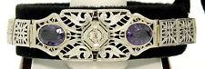 Art Deco 14k White Gold Old Mine Diamond Large Wide Filigree Belly Bracelet
