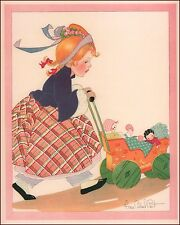 Girl Pushing Dolls in Buggy by Fern Bisel Peat, vintage print, authentic 1934