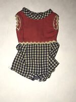 Vtg IDEAL PEPPER DOLL Checkered Playsuit Romper Red White Navy HTF Tammy Clothes