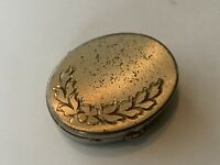 Antique Vintage Sterling Silver Pill Box Etched Flower Design Brushed Finish