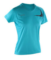 Ladies T-Shirt Top Lightweight Wicking Breathable Quick Dry Run Gym Sports AQUA