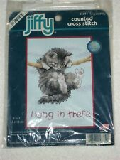 HANG ON KITTY PUSSY CAT DIMENSIONS CROSS STITCH KIT 16734 SKILL MODERATE 13x18cm