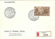 LIECHTENSTEIN : 1942 Anniversary 1f on registered envelope to Switzerland
