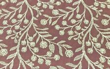 Voyage Decoration Dorney Damson Embroidered Fabric | Per Meter | In Stock Now!