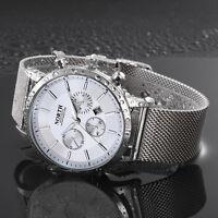 Mode Herren Edelstahl Sportuhr Armbanduhr Date Analog Quarz Luxus Business Uhren