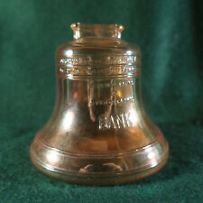 AMBER CARNIVAL GLASS FIGURAL 3.5 INCH LIBERTY BELL BANK, NICE HALLOWEEN COLOR