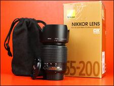 Nikon AF-S 55-200mm F4-5.6 G DX Autofocus Zoom Lente + ED F/R Tapas & Capucha