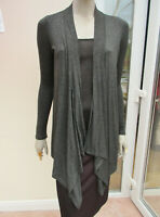 Tu - Womens Dark Grey Fine Knit Jersey Long Cardigan - size 8