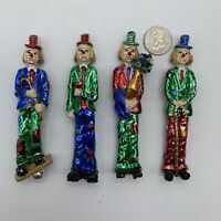 Lot of 4 Tall Skinny Vintage Clown Magnets Metallic Shiny Red, Green, Blue, Gold