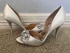 BADGLEY MISCHKA Women's Giana Jeweled Ivory Dress Sandals Sz 7.5 $225