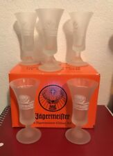6x Jagermeister Frosted White Stag Logo Glass Stemmed Shot Glasses 2cl