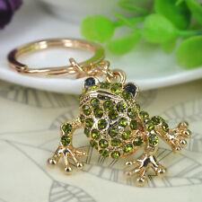 T PX Frog Keyring Rhinestone Crystal Charm Pendant Key Bag Chain Christmas Gift