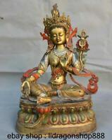 """15,2 """"vieux Tibet cuivre or peinture siège vert Tara déesse fleur statue"""