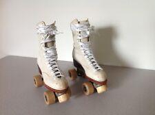 Vintage Womens White Leather Roller Skates Chicago Custom Size 5