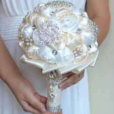 Handmade Silk Pearl Rhinestone Bridal Wedding Bouquet Bridesmaid Beige+White