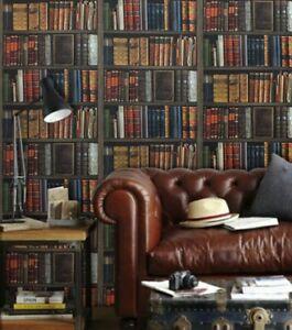 RASCH LIBRARY BOOKS SHELVES CLASSIC REALISTIC EFFECT BOOKSHELF WALLPAPER 934809