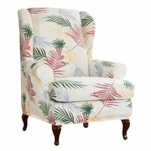 Stretch Armchair Slipcovers Wingback Chair Cover Leaves Pattern Dustproof Cover