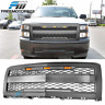 Fits 14-15 Chevy Silverado 1500 Front Bumper Hood Mesh Grille with Signal Light