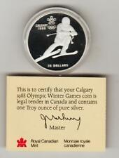 1985 Canada Proof Sterling Silver $20 coin - Calgary Olympics Downhill Skiing