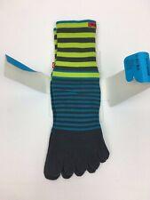 Injinji Toe Socks Crew Length Performance Sport Blue Striped Size Small