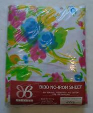 New In Package Vintage Bibb Floral Double Fitted Floral Sheet