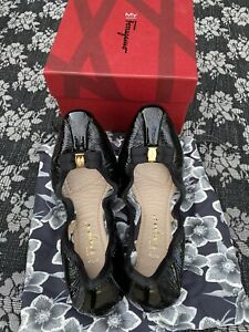 Salvatore Ferragamo My Joy Slip On Ballet Flats Nero Black Patent Size 7.5