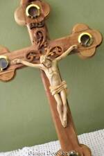 Crucifix Stations Cross Jesus Reliquary Olive Wood 15.25 inch Handmade Holy Land