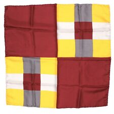 "VTG Handcraft Symphony Square Mens Silk Pocket square 18.5"" Burgundy Yellow"