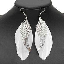 Angel Wing White Feather Dangle Earring Jewelry Long Earrings for Women XB