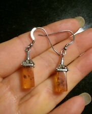 Amber Lantern Earrings Solid 925/Sterling Silver Baltic