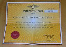 Breitling attestazione DE cronometro certificato cronometro 873001 francese OEM