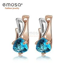 Charming Sapphire CUBIC ZIRCONIA & 18k Rose Gold Plated Huggie Earrings