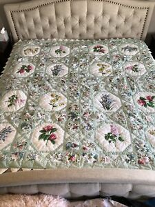 Quilt Green Pink Floral Handmade Stitching Large Gingham Flower Species