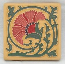 4x4 Arts & Crafts Carnation Tile in Coral by Arts & Craftsman Tileworks