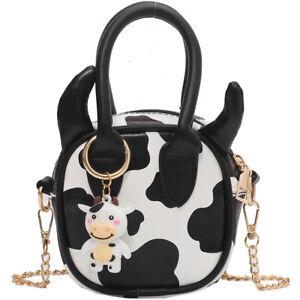 Cow shape coin purse messenger bag cute lightweight handbag detachable chain bag