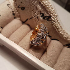 Stunning Diamond 'Tiger' Ring in 14k Gold over Sterling Silver size 'N' 0.25ct