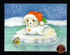 New listing Vintage Christmas Baby White Seal Fish Ice Snow Hat - Small - Greeting Card
