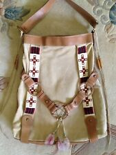 Fabulous Large Scully Leather Native Beadwork Bag Tote