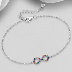 925 Sterling Silver CZ Rainbow Cubic Zirconia Infinity Bracelet Women Girls Cute