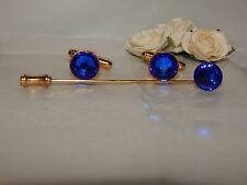 G/P Sapphire Blue Cufflinks & Cravat/Stick Pin -Mens-Ladies-Wedding-Gifts