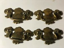 "4 Vintage Brass Batwing Chippendale Hardware Drawer Pull 3"" Center CANADA"