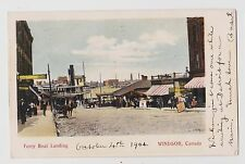 Windsor,Ontario,Canada,Boat Landing,Horse Drawn Wagon,Essex Co.Used,Windsor,1904