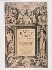 """~Post Card~""""Holy Bible"""" (Picture of Bible/on a Postcard w/Statues)  (B447)"""